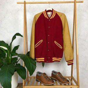 Vintage Red Blank Letterman Varsity Bomber Jacket
